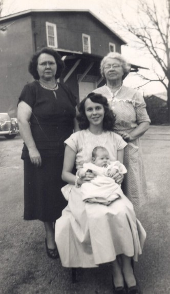 Four generations in 1950 (Great Grandma Evans, Grandma Scott, Joan, and Ellen)