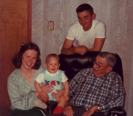 Harry Benson with son, Robert, Granddaughter Ellen holding Great Grandson Adam Zurn