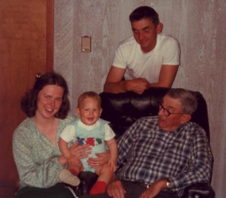 Harry Benson with son, Robert, Granddaughter Ellen holding Great Grandson Adam Zurn